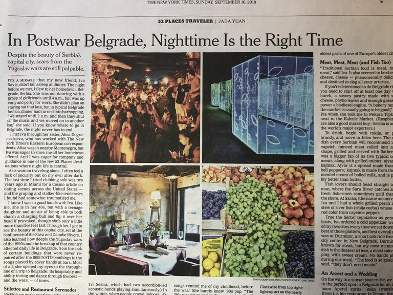 New York Times: In Postwar Belgrade, Nighttime Is the Right Time